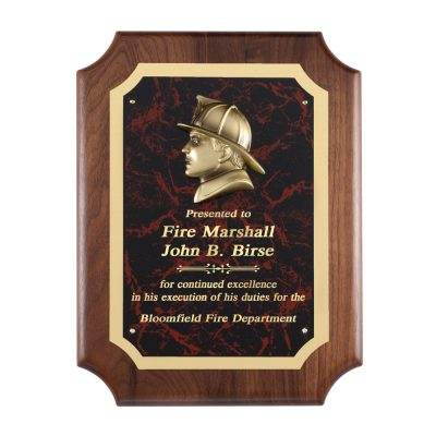 Red Marble Plaque with Fireman Head Casting AT100