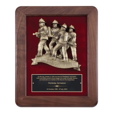 Walnut Plaque with Bravest Firefighter Casting AT118