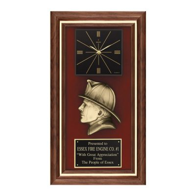 Fireman Head Casting Plaque with Quartz Clock AT35