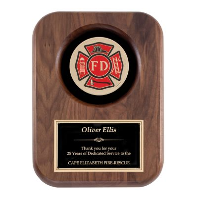 Red Maltese Fire Department Plaque AT6