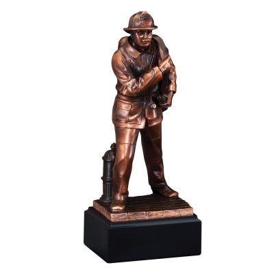Bronze Firefighter with Hose Statue RFB059
