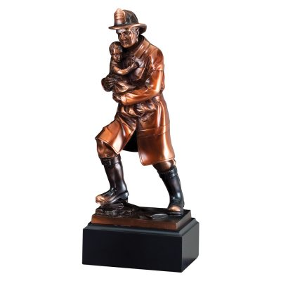 Bronze Firefighter Hero with Child Statue RFB064