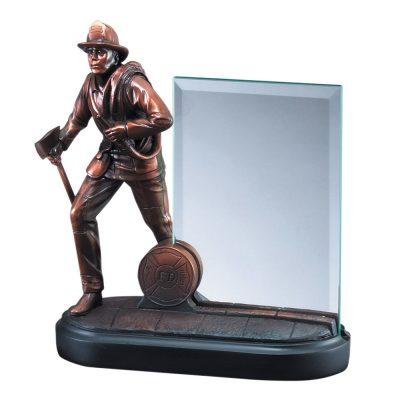Bronze Firefighter Statue with Glass RFB154