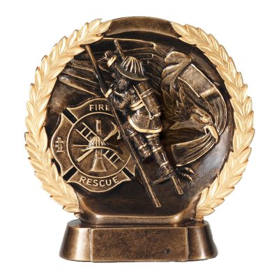 Gold Firefighter Wreath Statue RFH535