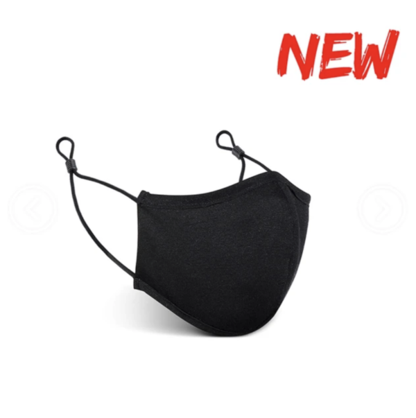 Black mask with 3D nose and adjustable earloops